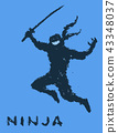 Ninja with sword attacks in jump. Vector 43348037