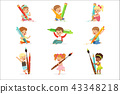 Cute young children holding big pencils, pens and paintbrushes, set for label design. Education and 43348218