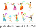 Smiling people dancing in national Indian costumes set for label design. Indian dance, Asian culture 43348250