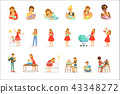 Mom and ad take care of their children set for label design. Colorful cartoon characters 43348272