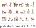 Breeding animals farmland. Farm profession worker people breeding livestock. Set of colorful cartoon 43348274