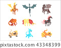Mythical and fantastic creatures, set for label design. Cartoon detailed Illustrations 43348399