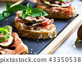 Various of Cured ham and Fig Bruschetta 43350538