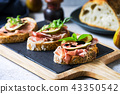 Various of Cured ham and Fig Bruschetta 43350542