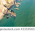 Aerial view of the beautiful cliffs close to the historic South Stack lighthouse on Anglesey - Wales 43350563