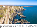 Aerial view of the beautiful cliffs close to the historic South Stack lighthouse on Anglesey - Wales 43350579