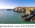 Aerial view of the beautiful cliffs close to the historic South Stack lighthouse on Anglesey - Wales 43350584