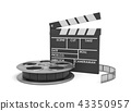 3d rendering of a video reel aand black clapperboard with empty fields on white background. 43350957
