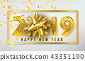 2019 Happy New Year vector background with golden gift bow, confetti, shiny glitter gold numbers and 43351190