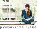 Asian university college student girl reading book 43351344