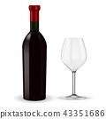 wine bottle wineglass 43351686