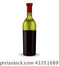 Half full bottle of red wine 43351689
