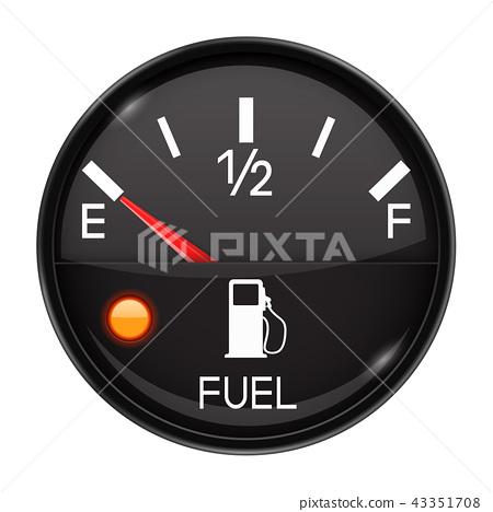 Fuel gauge. Empty tank. Round black car dashboard 3d device 43351708