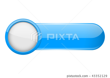 Blue menu button with white circle. Oval glass 3d icon 43352129