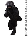 police special forces officer with submachine gun 43353513