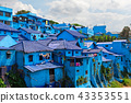 View of village with houses painted in blue color 43353551