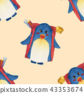 Penguin Backpack Watercolor Yellow Background. 43353674
