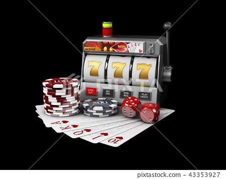 Slot machine with jackpot, Casino concept, 3d Illustration 43353927