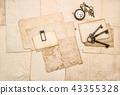 Vintage letters keys pocket watch Flat lay paper  43355328