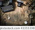 Antique typewriter photo camera still life 43355398