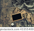 Vintage flat lay photo frame antique items scissor 43355400