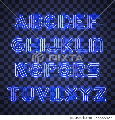 Shining and Glowing Blue Neon Alphabet and Digits. 43355427