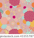 Colorful floral seamless background pattern 43355787