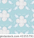 Floral seamless background pattern of hand - drawn elements 43355791