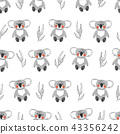 Seamless pattern with cute watercolor koala bears 43356242