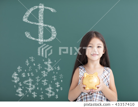 girl holding piggy bank and save money concept 43357410