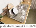 다양 한 부엌 도구, 부엌 선반 및 식물 배경 주방. 건조한 접시와 그릇 모양. 43358028