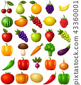 Set of fruits and vegetables isolated on white bac 43360001