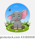 Cartoon happy elephant sitting on the grass 43360008