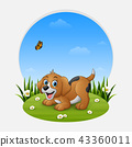 Cartoon funny dog on the grass 43360011