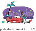 80年代的青年和开放的汽车 43360171
