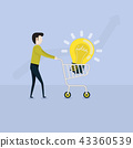 Young Businessman and flat supermarket Cart icon 43360539