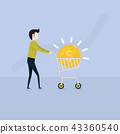 Young Businessman and flat supermarket Cart icon 43360540