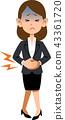 นักธุรกิจหญิงกำลังถือท้องเพื่อปวดท้อง 43361720