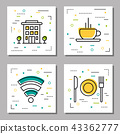 Four hotel service linear icons 43362777