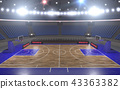 3d rendering of the basketball stadium with lights 43363382