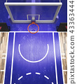 Top view on basketball hoop 3d render 43363444