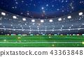 Professional evening soccer stadium background. 3D render 43363848