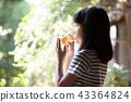 在老房子外緣的小學女孩飲用的大麥茶 43364824