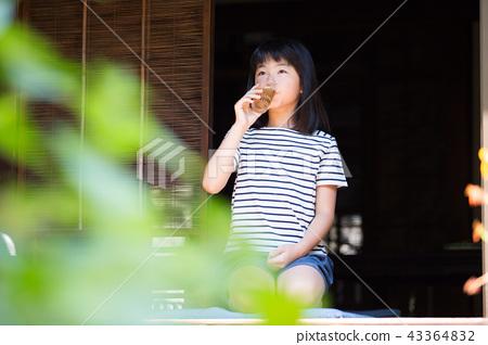 สาวโรงเรียนประถมดื่มชาข้าวบาร์เลย์บนขอบของบ้านเก่า 43364832