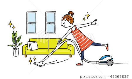 女人:房間,清潔,吸塵器 43365837