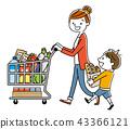 父母與子女:超市,購物,生活方式 43366121
