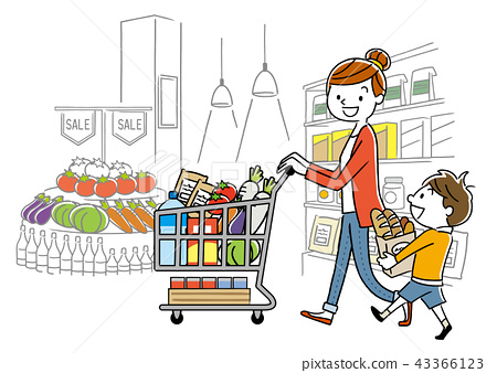 Parent and child: Supermarket, shopping, lifestyle 43366123