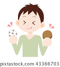 Men sweets who eat pea Daifuku and grilled chicken 43366703