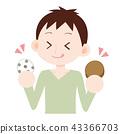 ผู้ชายขนมที่กินถั่ว Daifuku และไก่ย่าง 43366703