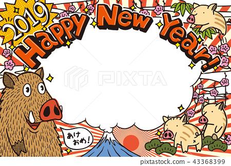 """2019年新年賀卡""""塗鴉野豬""""相框新年快樂手寫字母空間免費 43368399"""
